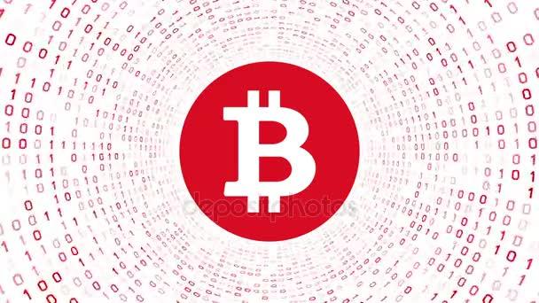 Červené šifrovací měna logo Bitcoin formuláře Červený binární tunel na bílém pozadí. Bezešvá smyčka. Další loga a nastavení barev, které jsou k dispozici v mém portfoliu