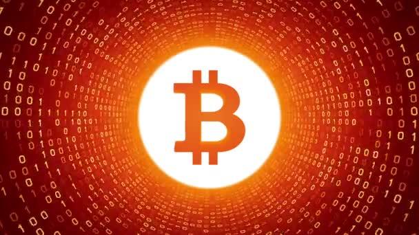 Bílé šifrovací měna logo Bitcoin formě žluté binární tunel na pozadí. Bezešvá smyčka. Další loga a nastavení barev, které jsou k dispozici v mém portfoliu