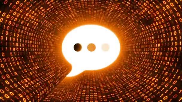 Bílá řeči bublina ikonu formuláře zlaté binární tunel na černém pozadí. Moderní komunikační koncept. Bezešvá smyčka. Další ikony a nastavení barev, které jsou k dispozici v mém portfoliu.