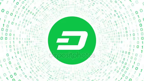 Green crypto currency logo DASH form green binary tunnel on white background. Seamless loop. More logos and color options available in my portfolio.