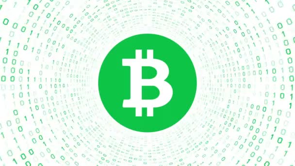 Green crypto currency logo BITCOIN form green binary tunnel on white background. Seamless loop. More logos and color options available in my portfolio.