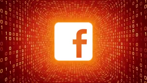 Editorial Animation White Facebook Logo Form Yellow Binary Tunnel On Orange Background Seamless Loop More Logotypes And Color Options Available In My Portfolio