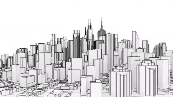 Isolated abstract city rotating on the white background. Seamless loop animation. 4K - Ultra HD resolution. Another versions available - check my profile.