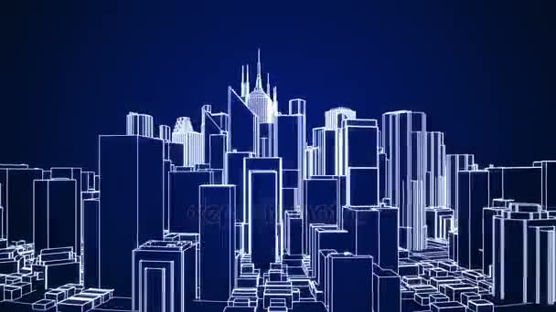 Abstract city rotating on the dark blue background  Seamless loop  animation  4K - Ultra HD resolution  Another versions available - check my  profile