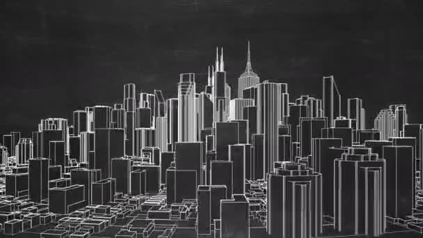 Abstraktní, město otočení na černé tabuli. Bezešvá smyčka animace. 4k - rozlišení Ultra Hd. Další verze k dispozici - zkontrolovat můj profil.