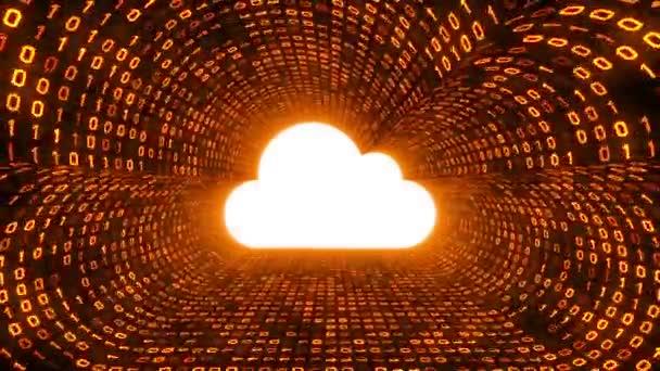 White cloud ikonu formuláře gold binární tunel na černém pozadí. Návrh technologie cloud. Bezešvá smyčka. Další ikony a nastavení barev, které jsou k dispozici v mém portfoliu.