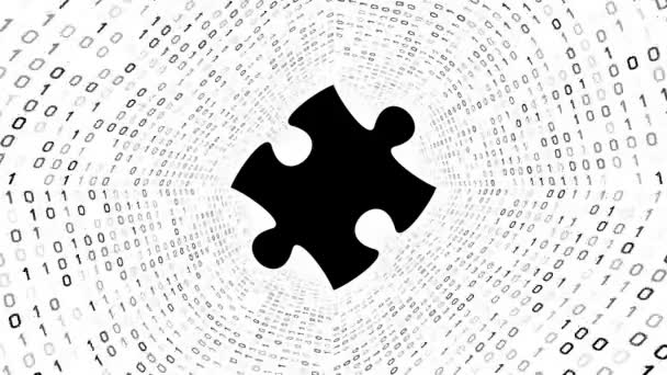 Black puzzle piece form black binary tunnel on white background. Seamless loop. More icons and color options available in my portfolio.