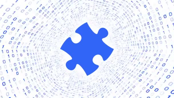Modrá puzzle kus modré podobě binární tunel na bílém pozadí. Bezešvá smyčka. Další ikony a nastavení barev, které jsou k dispozici v mém portfoliu.