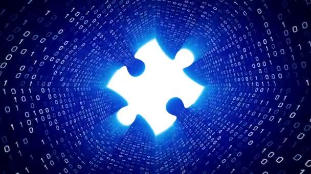 Bílé puzzle kus podobě bílé binární tunel na modrém pozadí. Bezešvá smyčka. Další ikony a nastavení barev, které jsou k dispozici v mém portfoliu.