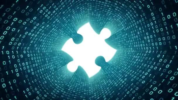 Bílé puzzle kus formuláře azurová binární tunel na azurovým pozadím. Bezešvá smyčka. Další ikony a nastavení barev, které jsou k dispozici v mém portfoliu