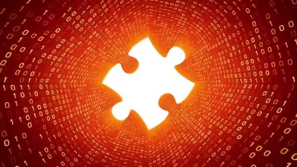 Bílé puzzle kus formě žluté binární tunel na pozadí. Bezešvá smyčka. Další ikony a nastavení barev, které jsou k dispozici v mém portfoliu.