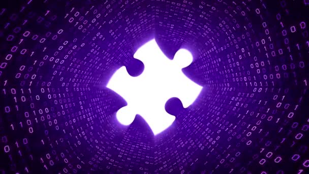 White puzzle piece form purple binary tunnel on purple background. Seamless loop. More icons and color options available in my portfolio.