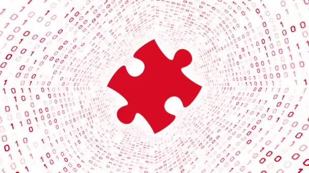 Red puzzle piece form red binary tunnel on white background. Seamless loop. More icons and color options available in my portfolio.