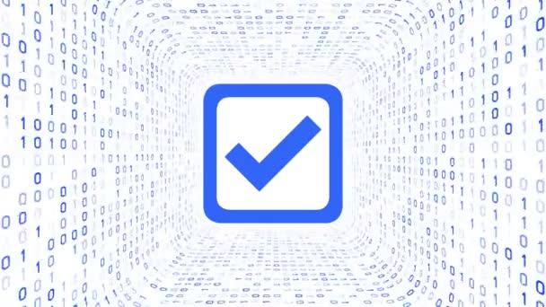 Kék jelölés ikon forma kék bináris alagút fehér háttér. Zökkenőmentes hurok. További ikonok és színválasztási lehetőségek a portfóliómban.