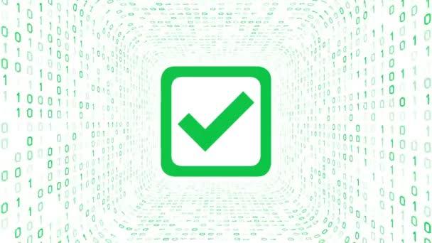 Zöld jelölés ikon alkotnak zöld bináris alagút fehér háttér. Zökkenőmentes hurok. További ikonok és színválasztási lehetőségek a portfóliómban.
