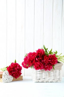 Bouquet of red peony flowers