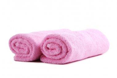 Pink towels close up