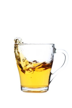 Glass of tea with ice cube
