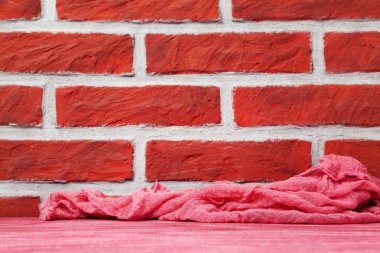 Gauze fabric on brick wall