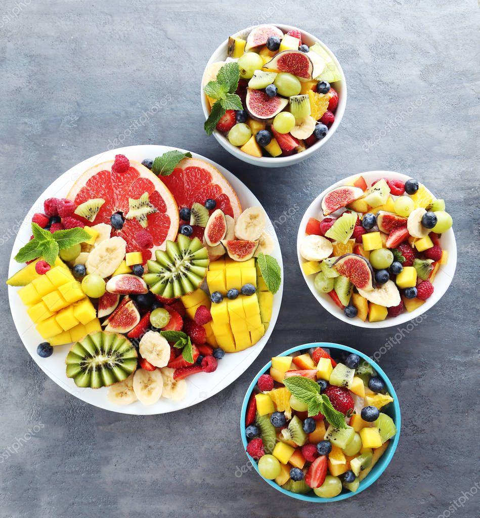 Fresh fruit salad in bowls