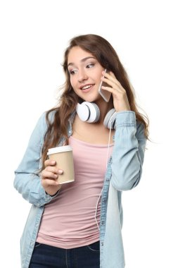 Woman with smartphone and headphones