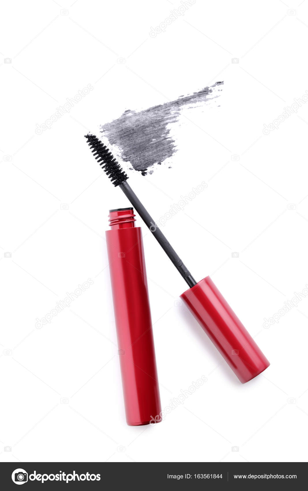 b06b584b217 Black mascara in red tube on a white background — Photo by 5seconds