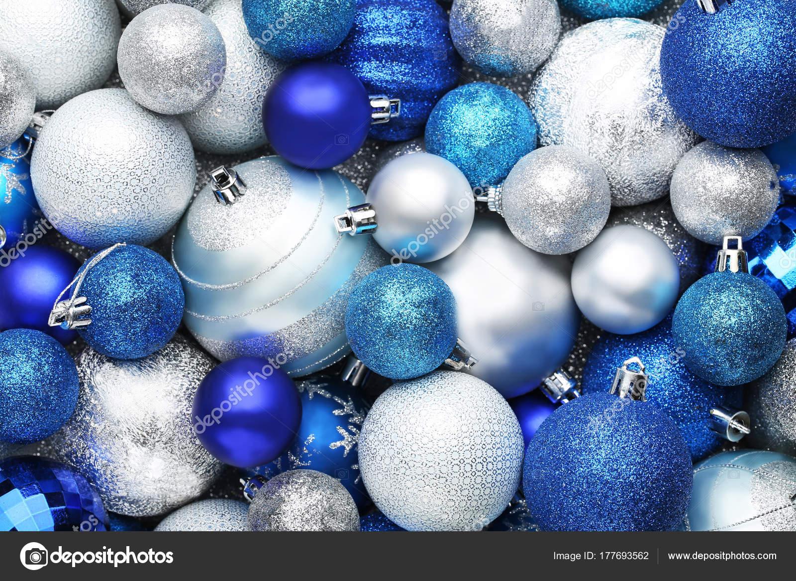 Weihnachtskugeln Blau.Blau Und Silber Weihnachtskugeln Hintergrund Stockfoto 5seconds