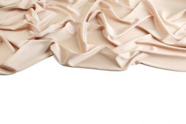 Beige satin cloth on white background