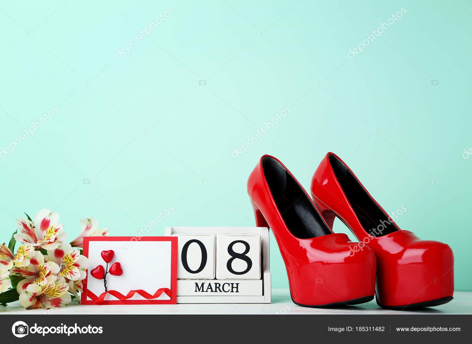 Alto Cubo Tacco Rosse Scarpe Con Calendario Fiori xd1qId
