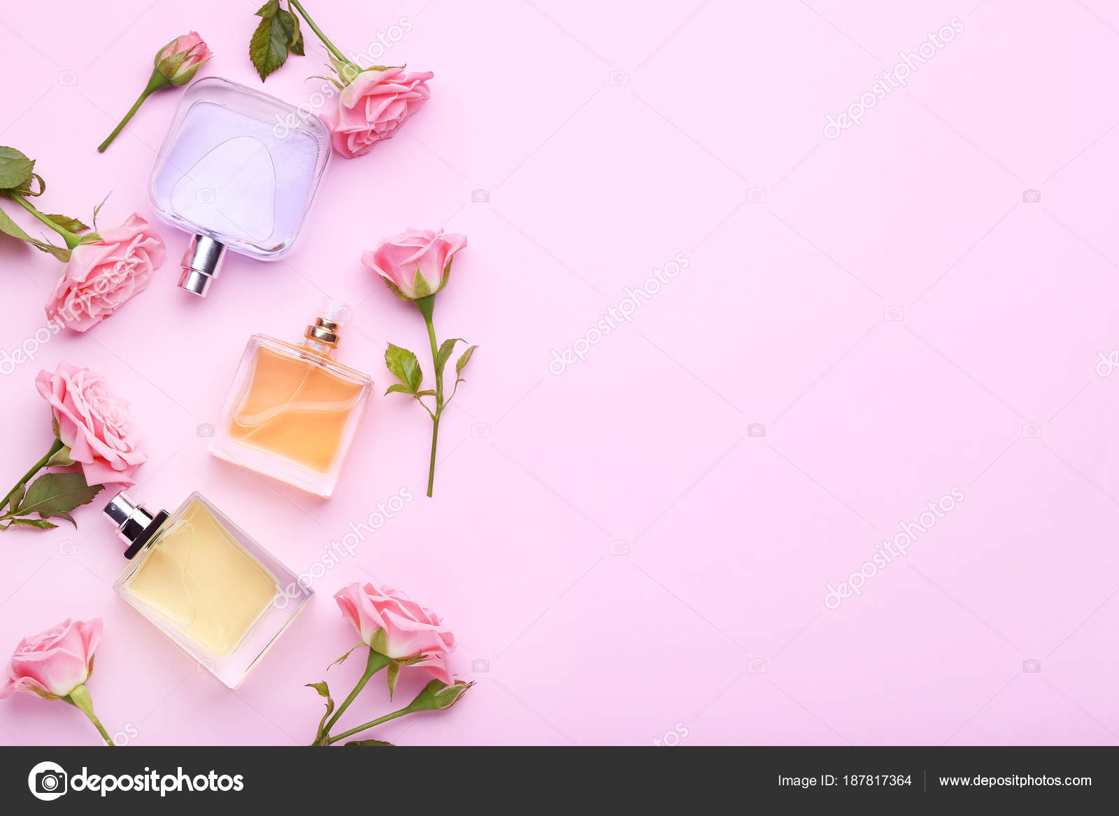 Perfume bottles flowers pink background stock photo 5seconds perfume bottles flowers pink background stock photo mightylinksfo