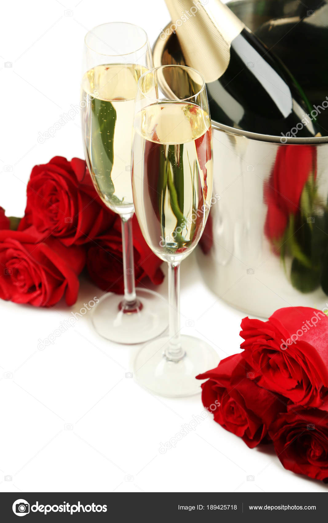 Champagne Bottle Bucket Glasses Bouquet Red Roses White Background