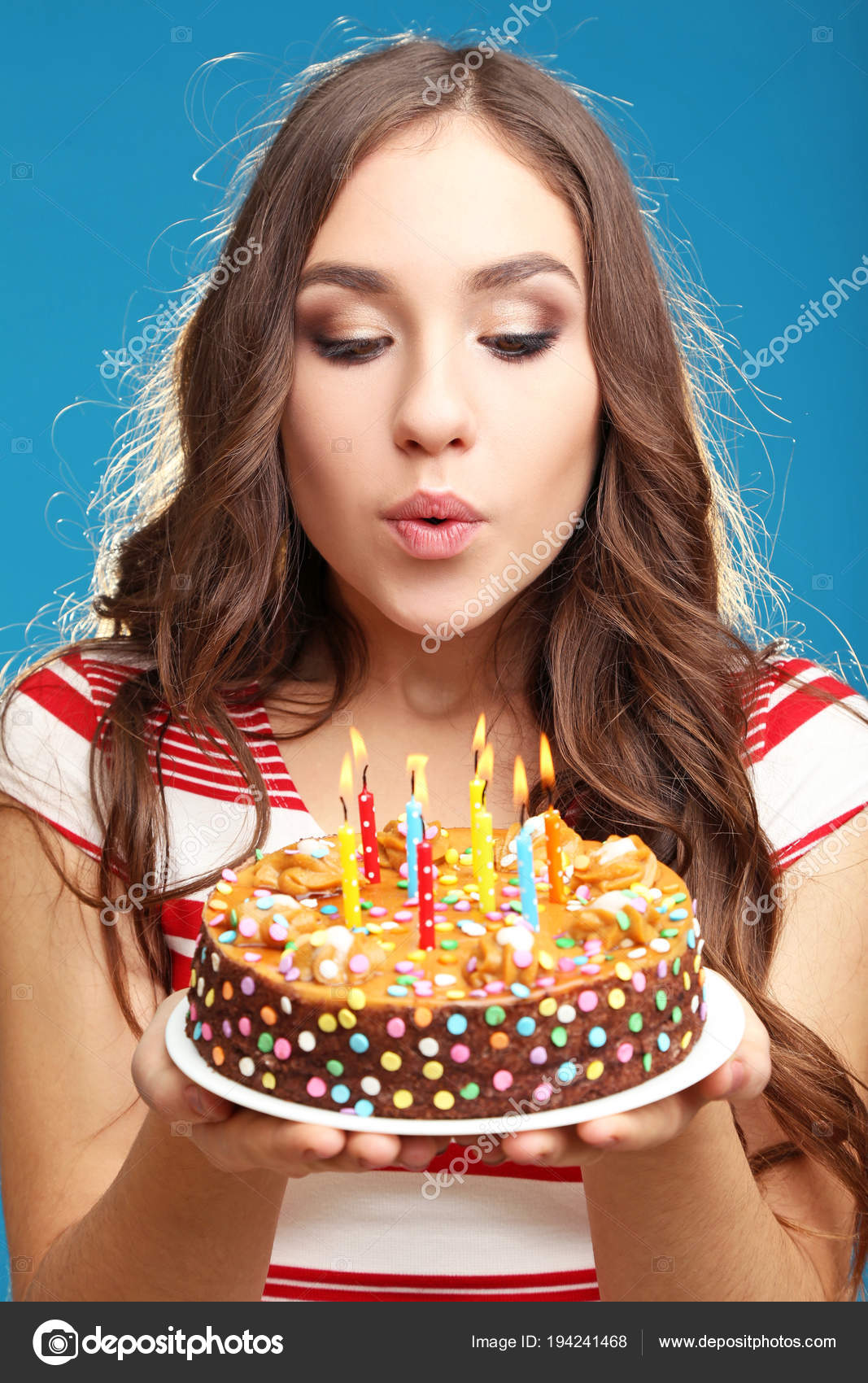 Images Woman Blowing Out Birthday Candle Young Woman Blowing Out Candles Birthday Cake Stock Photo C 5seconds 194241468