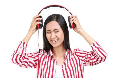 Beautiful woman with headphones on white background