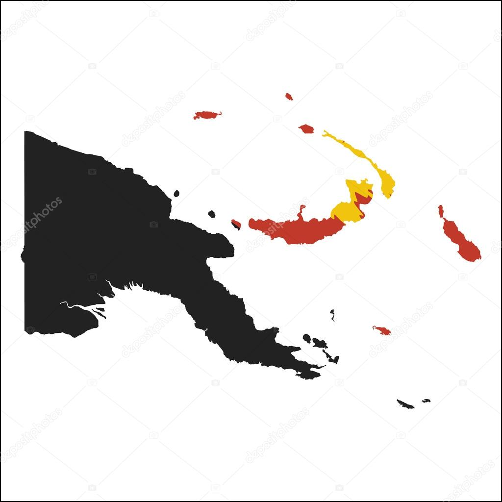 Papua New Guinea high resolution map with national flag ...
