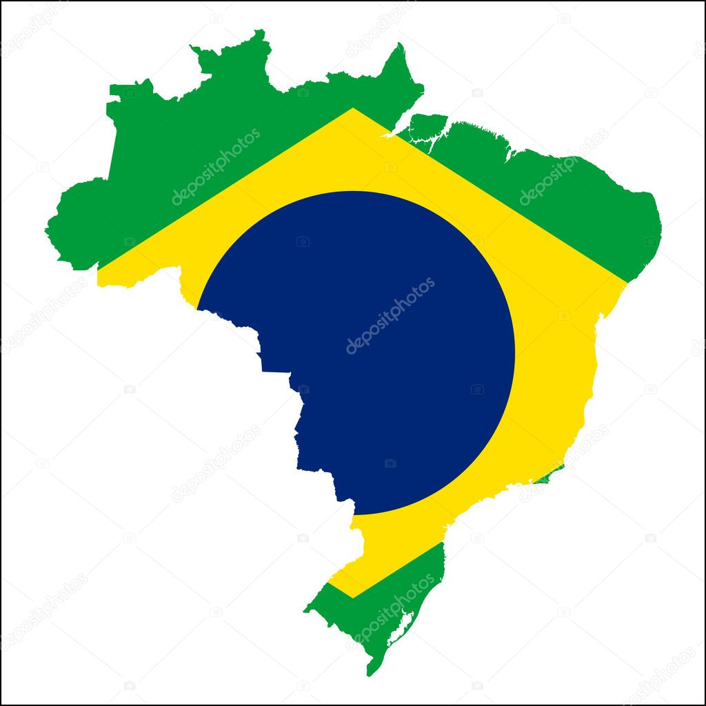 Brazil high resolution map with national flag  — Stock Vector
