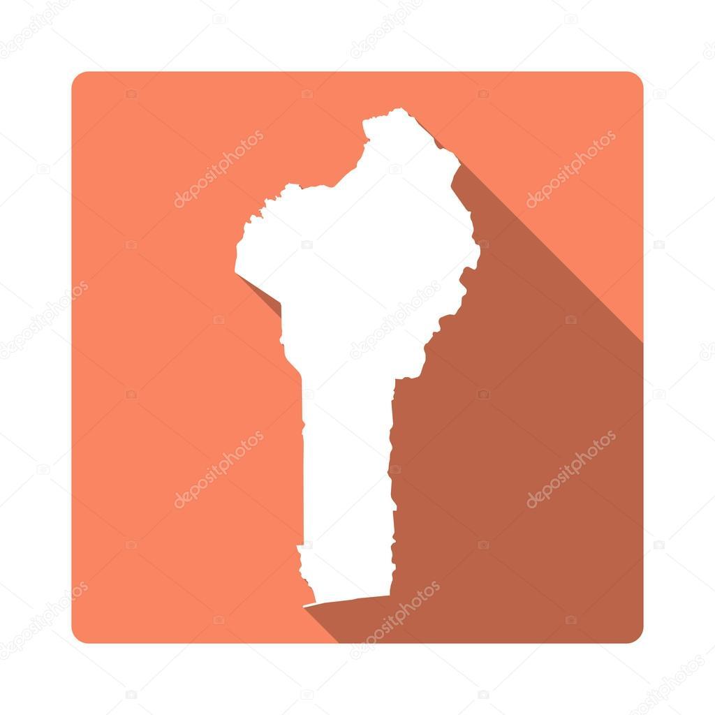 Vector Benin Map Button. Long Shadow Style Benin Map Square Icon ...