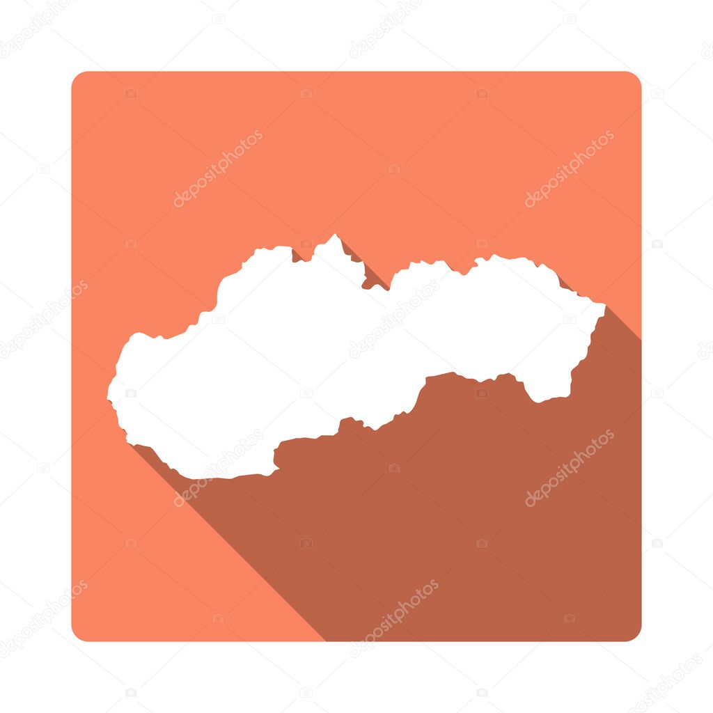 Vector Slovakia Map Button. Long Shadow Style Slovakia Map Square ...