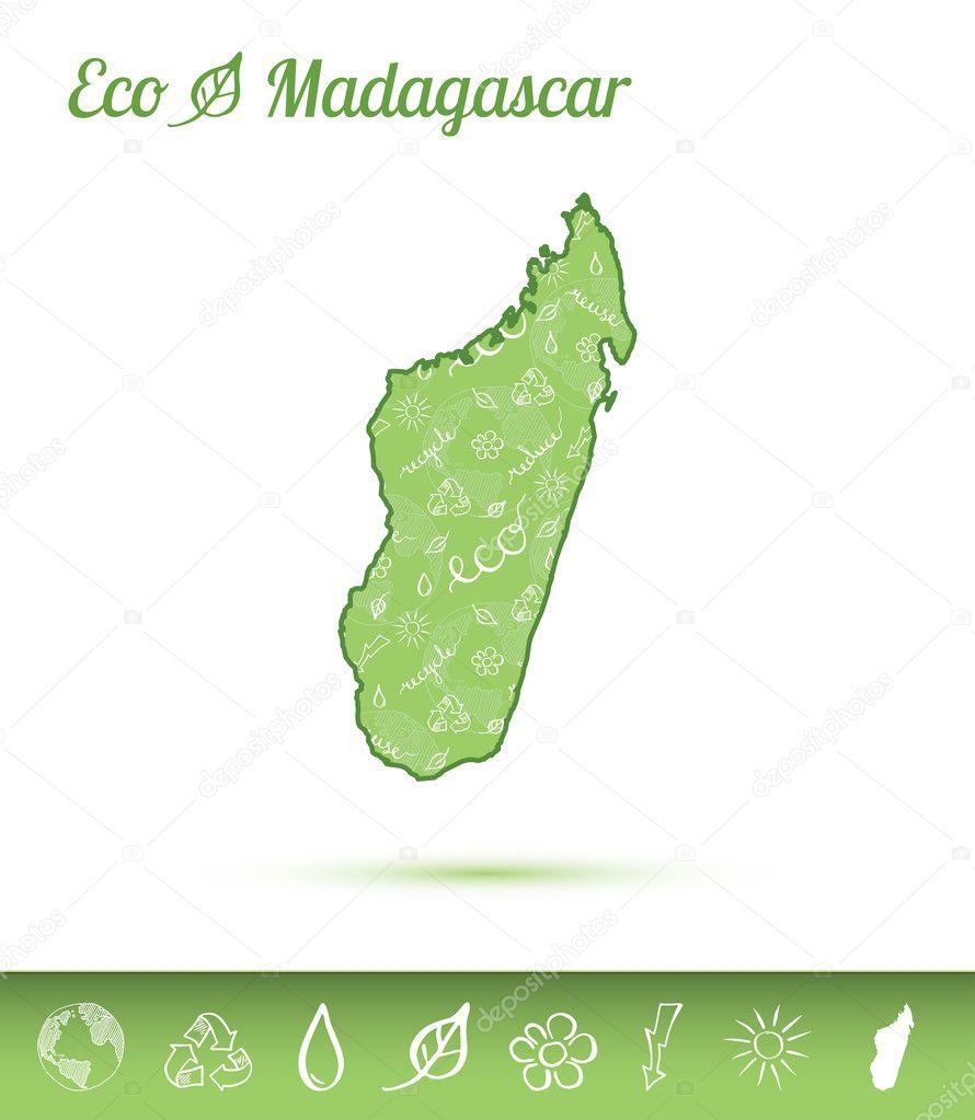 Carte Verte Madagascar.Carte Eco Madagascar Rempli Avec Motif Vert Image
