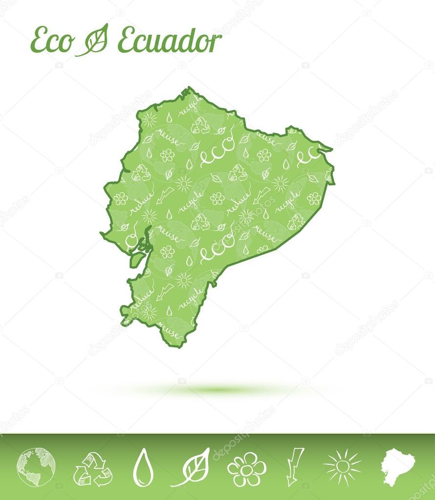 エクアドル エコ マップ緑パター...