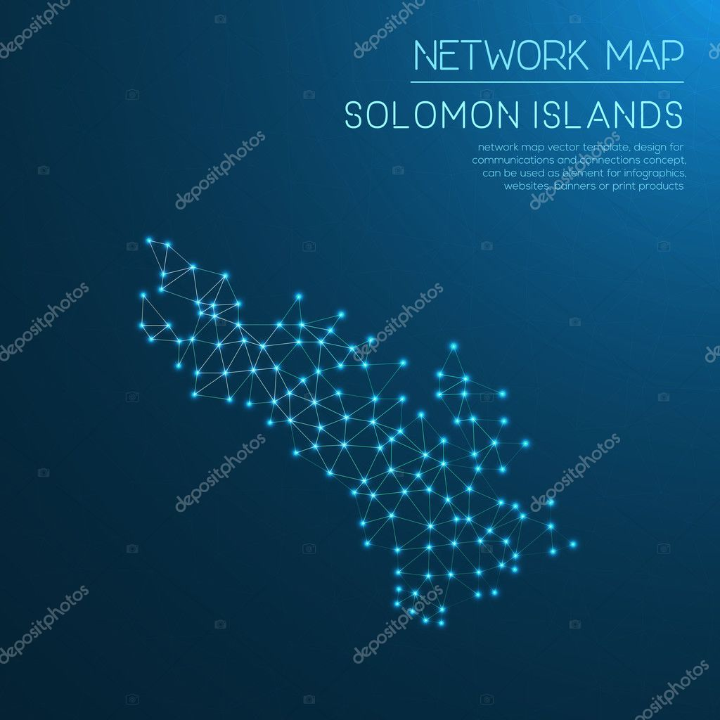 Solomon Islands network map  — Stock Vector © gagarych