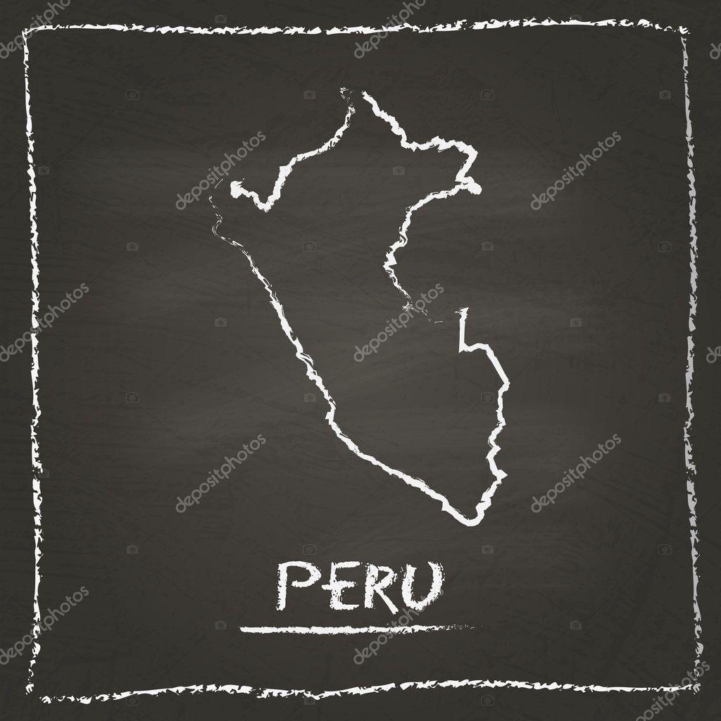 Peru Karte Umriss.Peru Umriss Vektor Karte Hand Gezeichnet Mit Kreide Auf