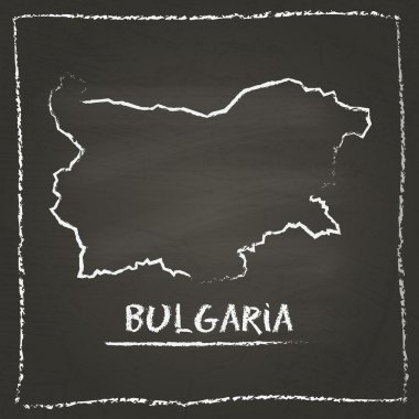Bulgaria outline vector map hand drawn with chalk on a blackboard.