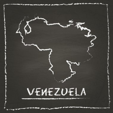 Venezuela, Bolivarian Republic of outline vector map hand drawn with chalk on a blackboard.