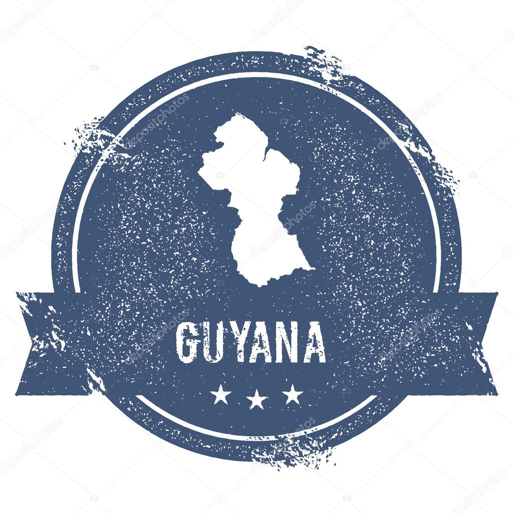 Guyana mark Travel rubber stamp with the name and map of Guyana