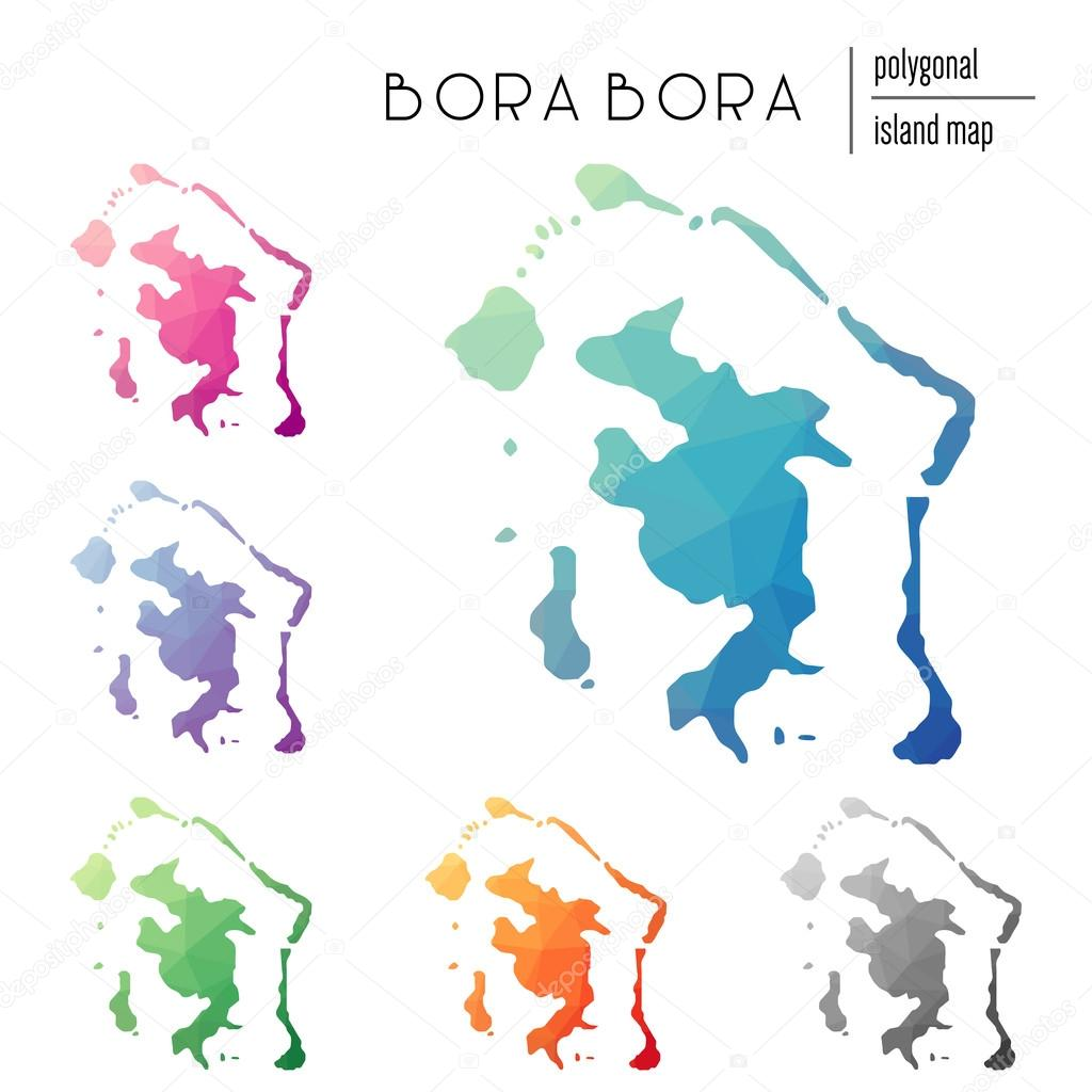 Set Of Vector Polygonal Bora Bora Maps Filled With Bright