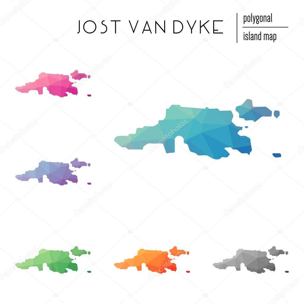 Set of vector polygonal Jost Van Dyke maps filled with bright