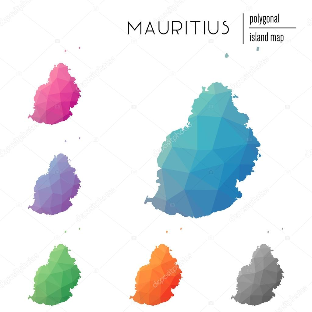 Set of vector polygonal Mauritius maps filled with bright ...