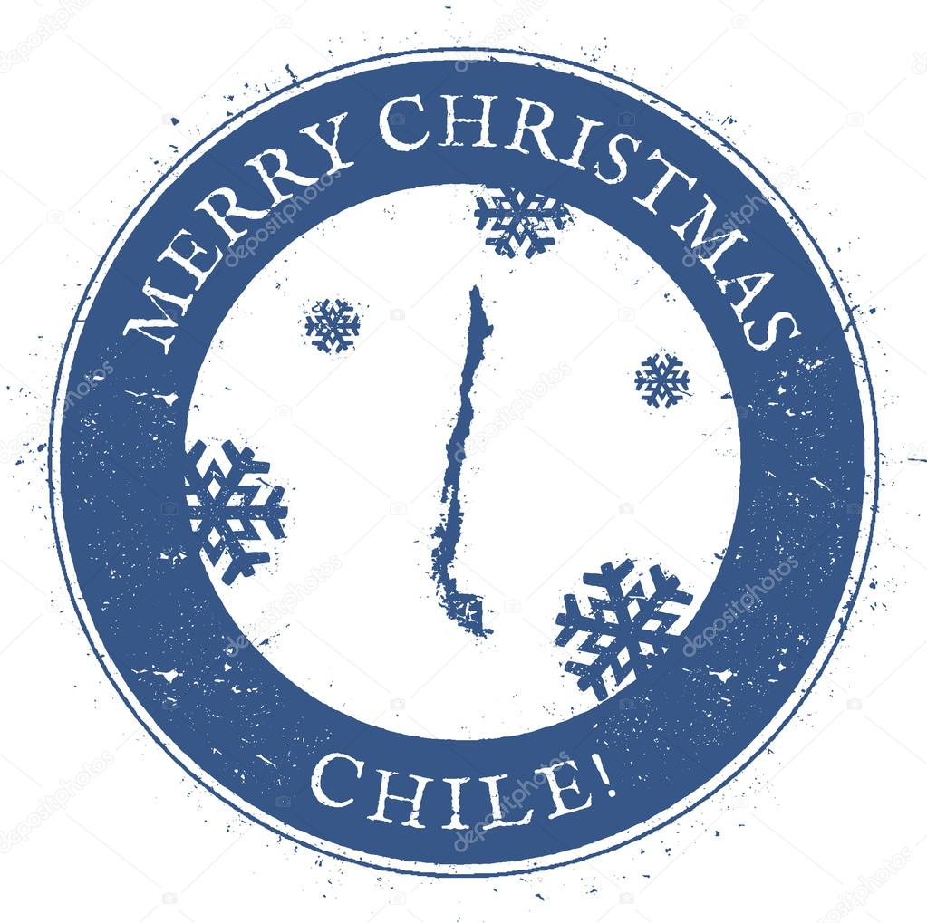 Chile Map Vintage Merry Christmas Stamp Stylised Rubber With County And Text Vector Illustration By Gagarych