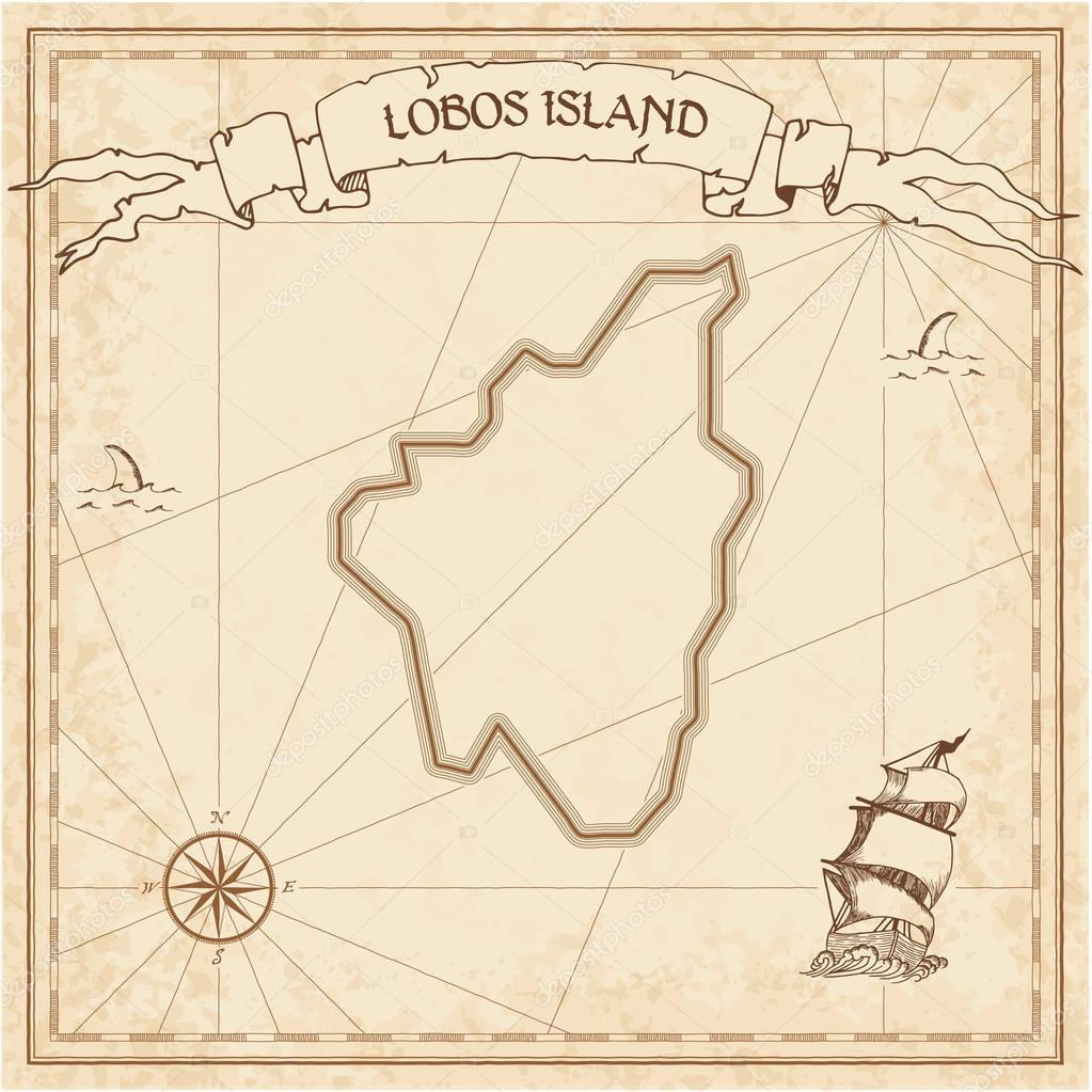 Isla De Lobos Mapa.Antiguo Mapa Del Tesoro Isla De Lobos Archivo Imagenes