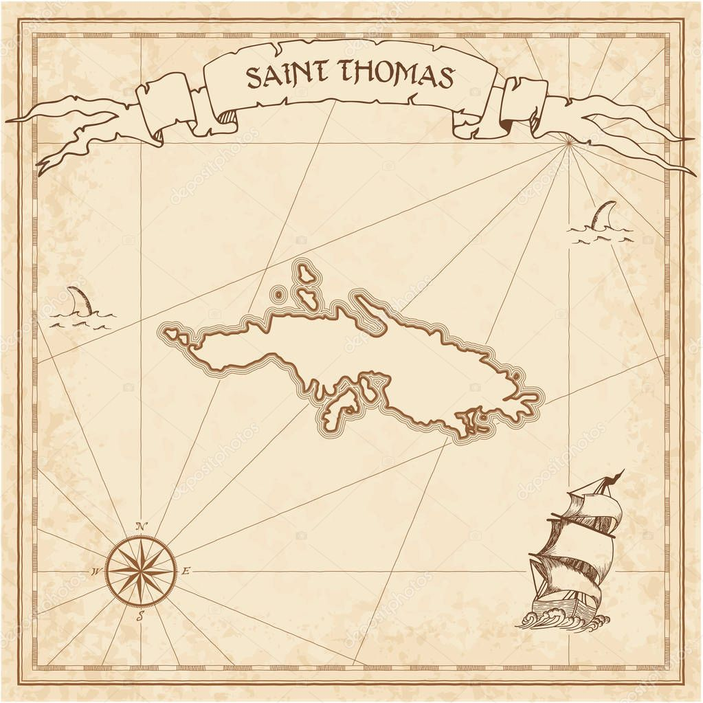 saint thomas old treasure map stock vector